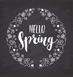 hello spring calligraphy lettering handwritten vector image