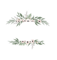 Horisontal botanical design banner pink vector