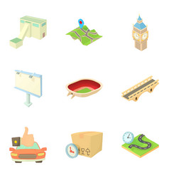 Infrastructure operations icons set cartoon style vector
