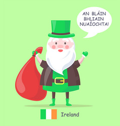 ireland santa claus with bag vector image