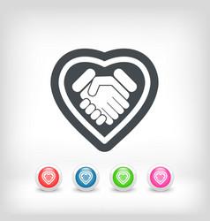 Love handshake minimal icon vector