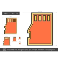 Memory card line icon vector image