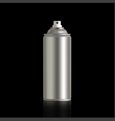 Metal aerosol can on a black background with vector