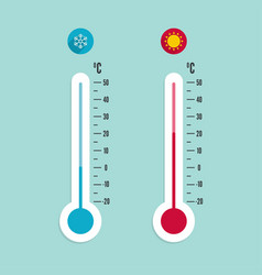 meteorology thermometer with celsius fahrenheit vector image