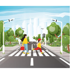 mom with son crossing road on crosswalk road vector image