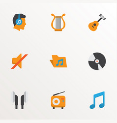 music icons flat style set with silent compact vector image