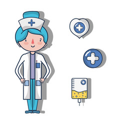Nurse with fist aid kit icons vector