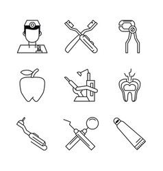 odontology icons set vector image