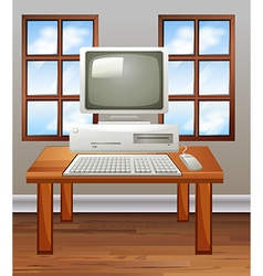 Old computer in room vector