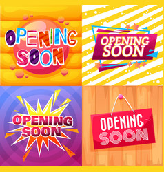 opening soon banners shop and store cartoon signs vector image