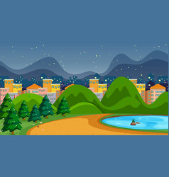 Park with pond scene vector