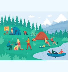 people camp friends relaxing near bonfire vector image