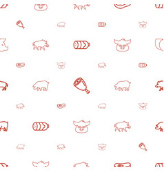 Pork icons pattern seamless white background vector