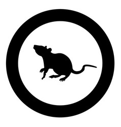 Rat icon black color in circle vector