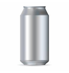 Realistic silver aluminum can vector