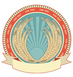 Retro wheat label vector