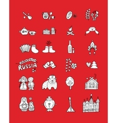 Russia icons set Sketch for your design vector