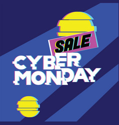 Sale cyber monday concet advertising online vector