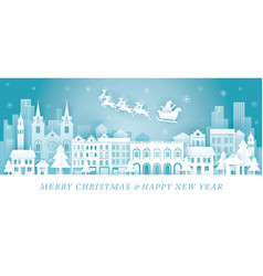 santa claus riding sleigh over city background vector image