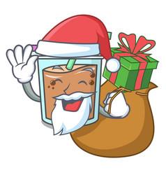 Santa with gift bubble tea mascot cartoon vector