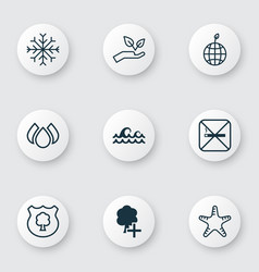 Set 9 eco icons includes cigarette insert vector