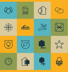 set of 16 eco-friendly icons includes insert vector image