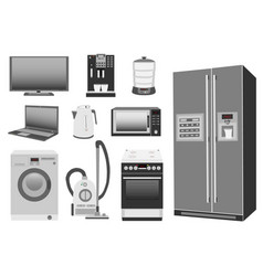 set of colored home appliances kitchen stove vector image