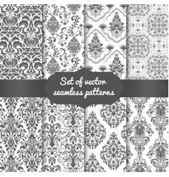 Set of damask seamless pattern vector