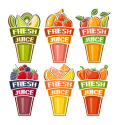 set of glasses with fresh juice vector image