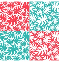 Set of palm leaves seamless pattern vector