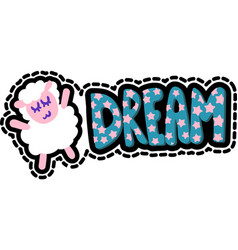 sheep with dream lettering stitched frame patch vector image