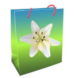 Shopping Bag with lily vector image