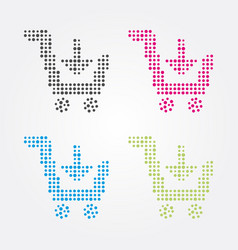 shopping cart composed of colorful dots vector image