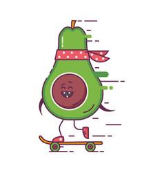 skateboarding avocado hipster character vector image