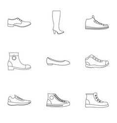 slipper icons set outline style vector image
