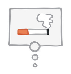 Smoking cigarette in thought bubble vector