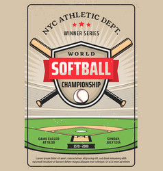 Softball championship league grunge flyer vector