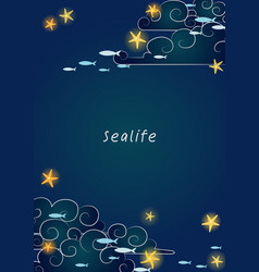 starfish on night sky and school fish frame vector image