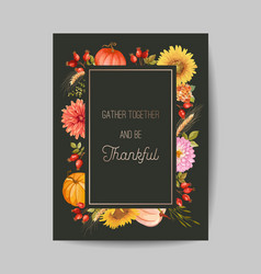 thanksgiving day greeting invitation card flyer vector image