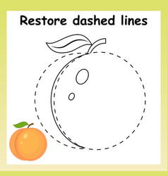 Trace game for children cartoon peach restor vector
