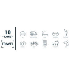 Travel icon set include creative elements compass vector