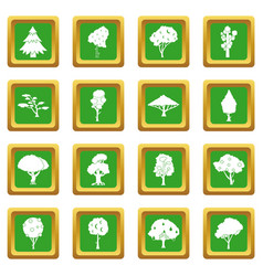 Trees icons set green vector