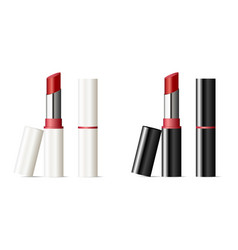 trendy lipstick mock up set with black and white vector image