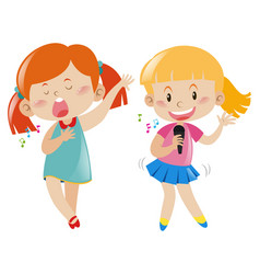 Two girl singing and dancing vector