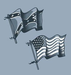Us and confederate flags monochrome tattoo style vector