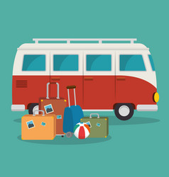 van and suitcases scene vector image