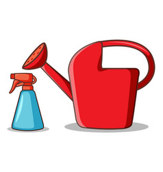 Watering can and spray bottle on white background vector
