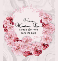 wedding invitation with floral garland over marble vector image