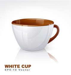 White cup with brown elements vector image vector image