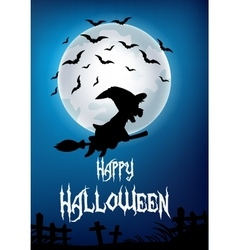 Witch riding broom with full moon vector image